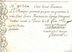 100 Livres Tournois gravé FRANCE  1719 Dor.04 pr.SUP