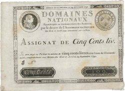 500 Livres FRANCE  1790 Ass.10b TTB
