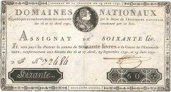 60 Livres FRANCE  1791 Ass.14a TB