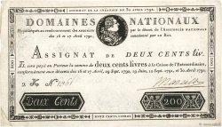 200 Livres filigrane 1792 FRANCE  1792 Ass.29b TTB