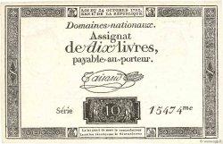 10 Livres filigrane républicain FRANCE  1792 Ass.36c SPL