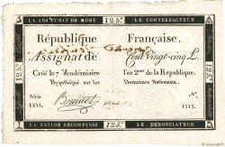 125 Livres FRANCE  1793 Ass.44v TTB