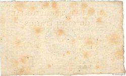 5 Francs Monval sans cachet FRANCE  1796 Ass.63a TTB