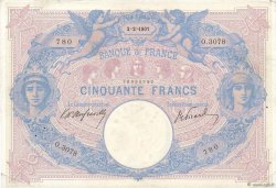 50 Francs BLEU ET ROSE FRANCE  1907 F.14.19 VF