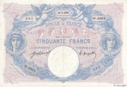 50 Francs BLEU ET ROSE FRANCE  1921 F.14.34 pr.TTB