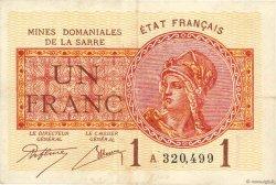 1 Franc MINES DOMANIALES DE LA SARRE FRANCE  1919 VF.51.01 TTB