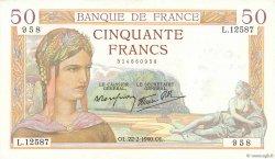 50 Francs CÉRÈS modifié FRANCE  1940 F.18.39 SUP+