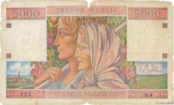 5000 Francs TRÉSOR PUBLIC FRANCE  1955 VF.36.01 AB