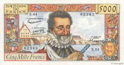 5000 Francs HENRI IV FRANCE  1958 F.49.05 XF