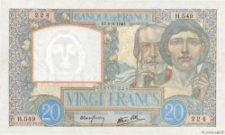 20 Francs TRAVAIL ET SCIENCE  FRANCE  1940 F.12.03