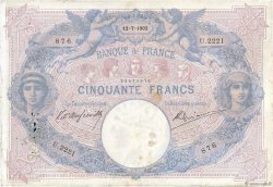 50 Francs BLEU ET ROSE  FRANCE  1902 F.14.14