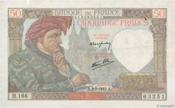 50 Francs JACQUES CŒUR  FRANCE  1942 F.19.19