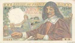 100 Francs DESCARTES  FRANCE  1942 F.27.01