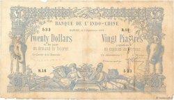 20 Dollars / 20 Piastres INDOCHINE FRANÇAISE  1898 P.030 B+