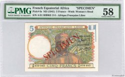 5 Francs FRENCH EQUATORIAL AFRICA Brazzaville 1941 P.06s AU