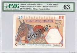 25 Francs FRENCH EQUATORIAL AFRICA Brazzaville 1941 P.07s AU
