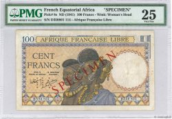 100 Francs FRENCH EQUATORIAL AFRICA Brazzaville 1941 P.08s aVF
