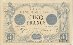 5 Francs NOIR FRANCE  1874 F.01.25 aVF