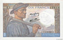 10 Francs MINEUR FRANCE  1941 F.08.01 aAU