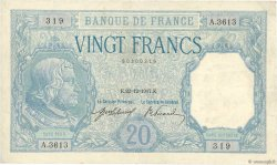 20 Francs BAYARD FRANCE  1917 F.11.02 VF