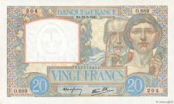 20 Francs SCIENCE ET TRAVAIL FRANCE  1940 F.12.06 XF+