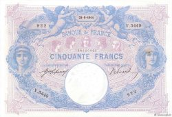 50 Francs BLEU ET ROSE  FRANCE  1914 F.14.27