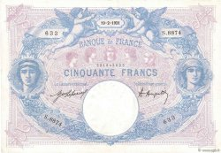 50 Francs BLEU ET ROSE  FRANCE  1921 F.14.34
