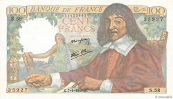 100 Francs DESCARTES  FRANCE  1943 F.27.03
