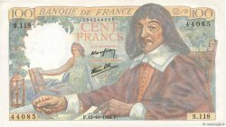 100 Francs DESCARTES  FRANCE  1944 F.27.08