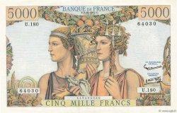 5000 Francs TERRE ET MER FRANCE  1957 F.48.17 SUP+