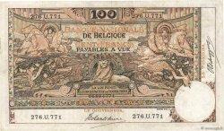 100 Francs BELGIUM  1910 P.071 VF