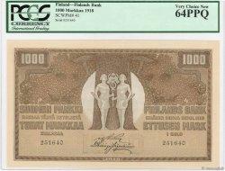 1000 Markkaa FINLANDE  1918 P.41 NEUF