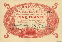 5 Francs Cabasson rouge  GUADELOUPE  1923 P.07a