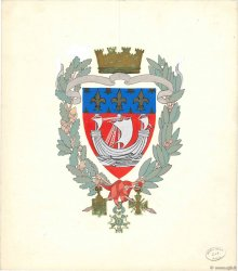 Gouache blason Paris FRANCE  1930  NEUF