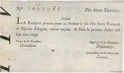 10 Livres Tournois typographié FRANCE  1720 Dor.22 aXF