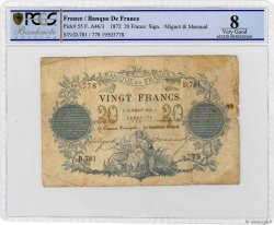 20 Francs type 1871 FRANCE  1872 F.A46.03 pr.B
