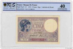 5 Francs VIOLET FRANCE  1919 F.03.03 XF
