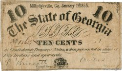 10 Cents UNITED STATES OF AMERICA Milledgeville 1863 PS.0858 F+