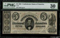 5 Dollars ÉTATS CONFÉDÉRÉS DAMÉRIQUE  1861 P.16b pr.TTB