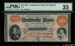 10 Dollars CONFEDERATE STATES OF AMERICA  1861 P.23 aXF