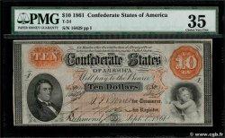 10 Dollars ÉTATS CONFÉDÉRÉS DAMÉRIQUE  1861 P.23 TTB+