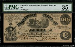 100 Dollars CONFEDERATE STATES OF AMERICA  1861 P.38 aXF