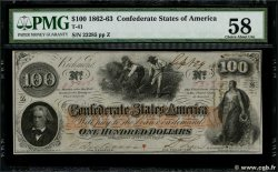 100 Dollars CONFEDERATE STATES OF AMERICA  1862 P.45 AU