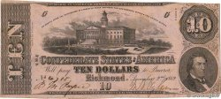 10 Dollars CONFEDERATE STATES OF AMERICA  1862 P.52b VF