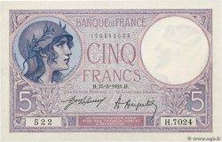 5 Francs VIOLET FRANCE  1921 F.03.05 XF