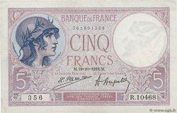 5 Francs VIOLET FRANCE  1922 F.03.06 XF