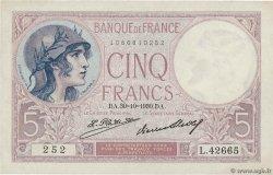 5 Francs VIOLET FRANCE  1930 F.03.14 XF+