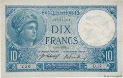 10 Francs MINERVE FRANCE  1916 F.06.01 XF