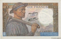 10 Francs MINEUR  FRANCE  1942 F.08.03 XF