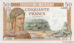 50 Francs CÉRÈS modifié FRANCE  1937 F.18.01 XF
